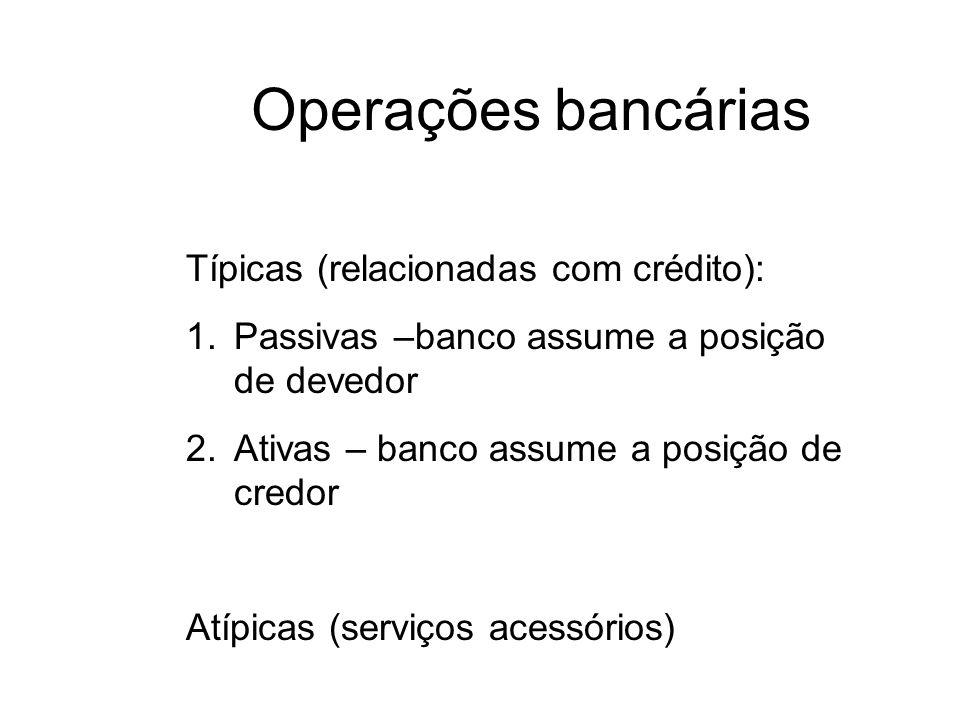 Operações bancárias Típicas (relacionadas com crédito): 1.Passivas –banco assume a posição de devedor 2.Ativas – banco assume a posição de credor Atíp