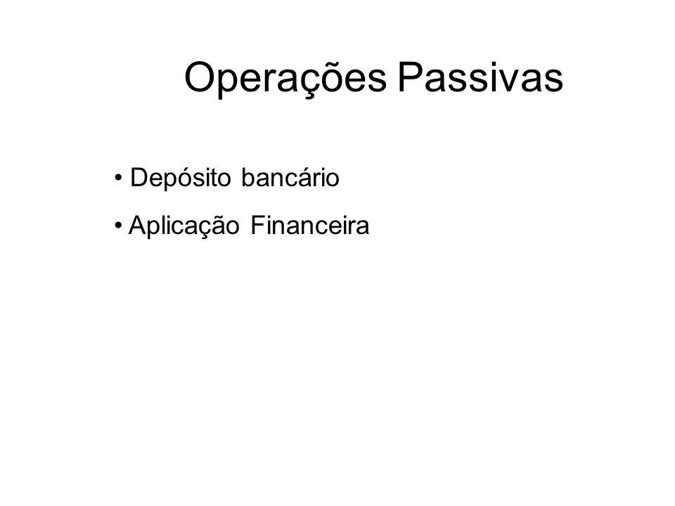 Operações Passivas Depósito bancário Aplicação Financeira