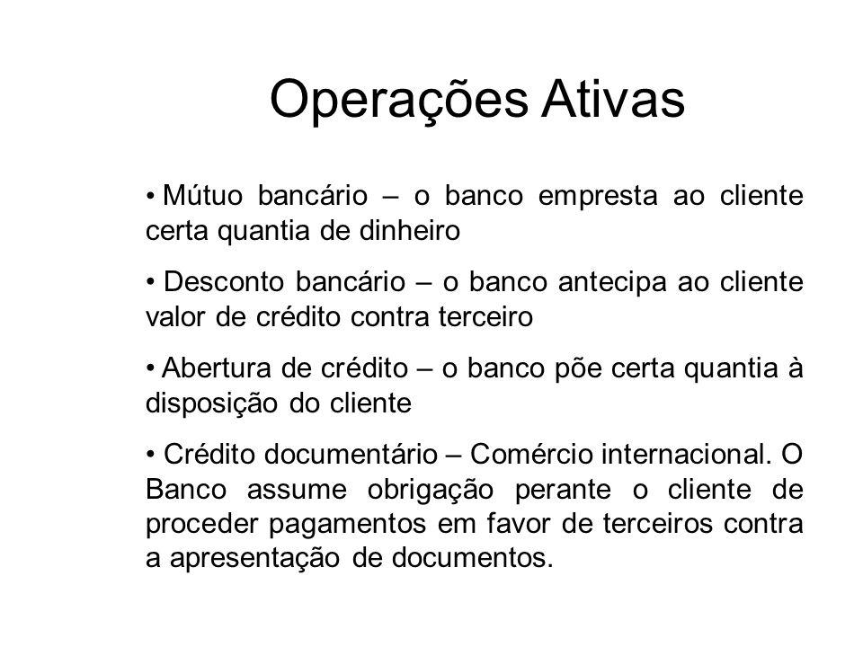 Operações Ativas Mútuo bancário – o banco empresta ao cliente certa quantia de dinheiro Desconto bancário – o banco antecipa ao cliente valor de crédi