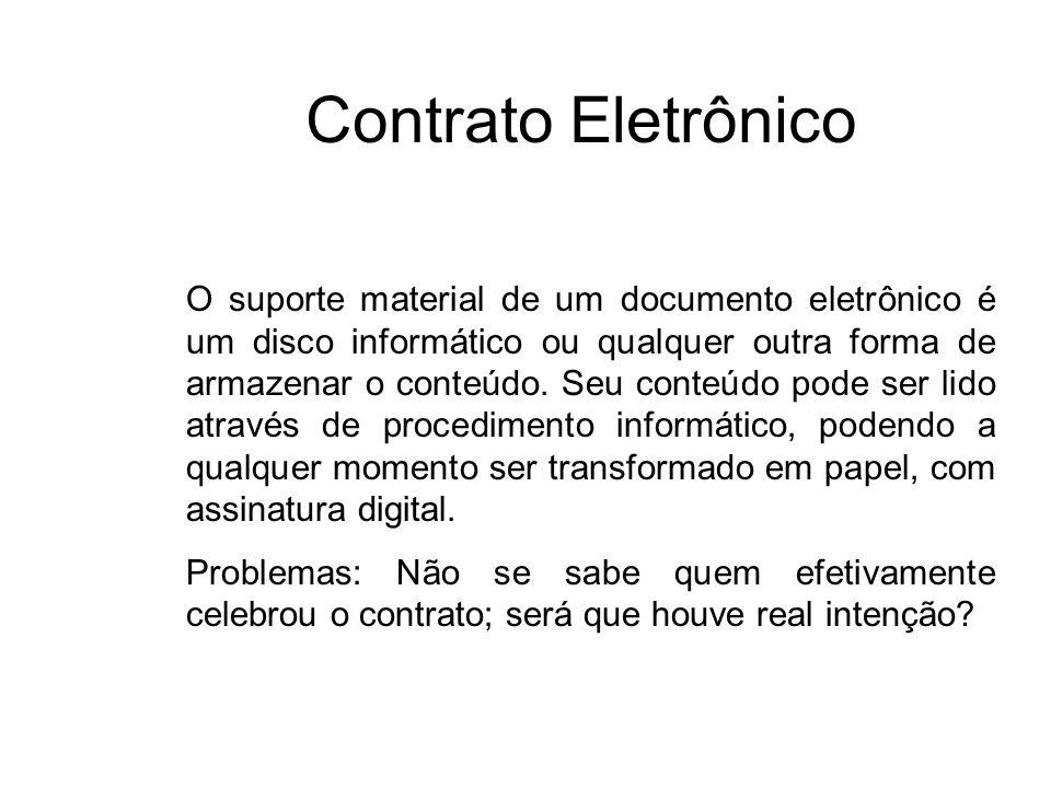 Contrato Eletrônico O suporte material de um documento eletrônico é um disco informático ou qualquer outra forma de armazenar o conteúdo. Seu conteúdo