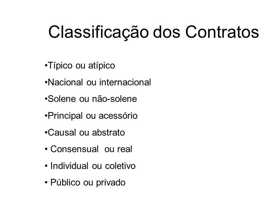 Classificação dos Contratos Típico ou atípico Nacional ou internacional Solene ou não-solene Principal ou acessório Causal ou abstrato Consensual ou r