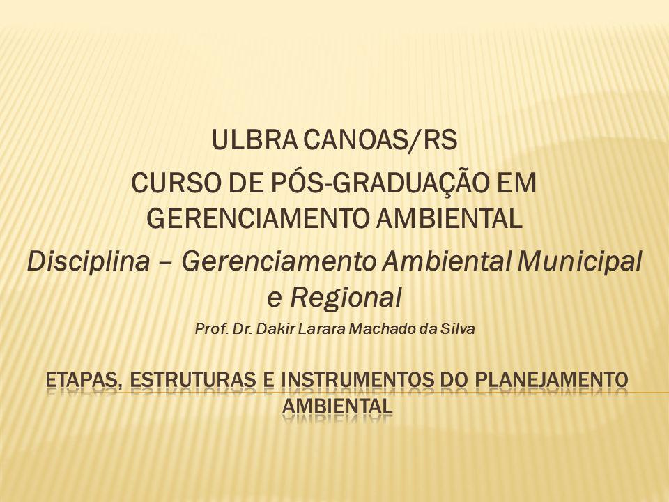 ULBRA CANOAS/RS CURSO DE PÓS-GRADUAÇÃO EM GERENCIAMENTO AMBIENTAL Disciplina – Gerenciamento Ambiental Municipal e Regional Prof. Dr. Dakir Larara Mac