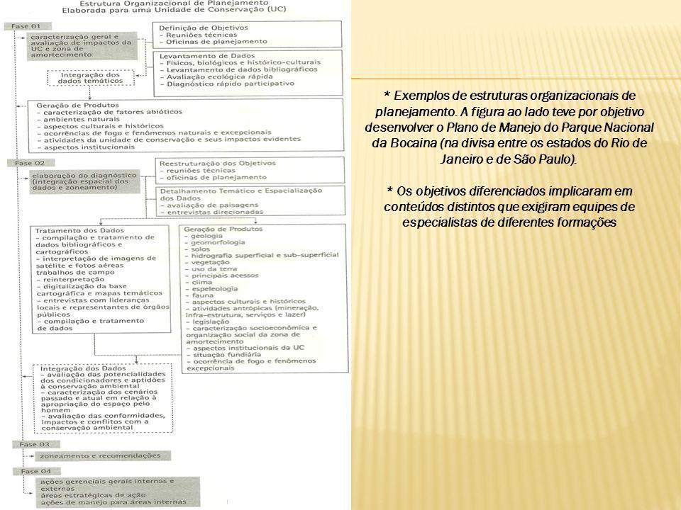 * Exemplos de estruturas organizacionais de planejamento. A figura ao lado teve por objetivo desenvolver o Plano de Manejo do Parque Nacional da Bocai