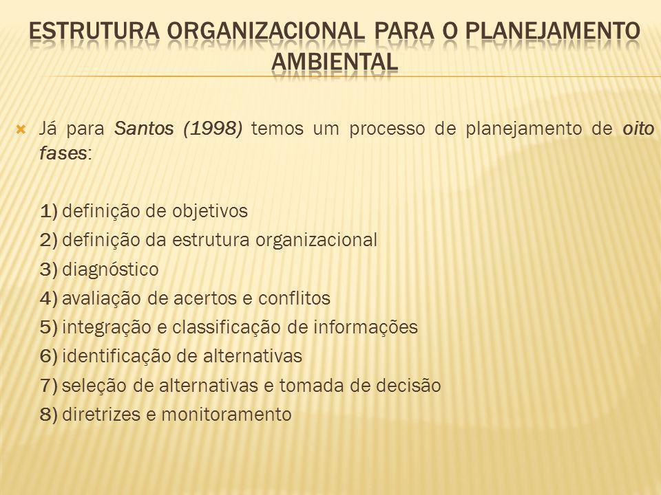 Já para Santos (1998) temos um processo de planejamento de oito fases: 1) definição de objetivos 2) definição da estrutura organizacional 3) diagnósti