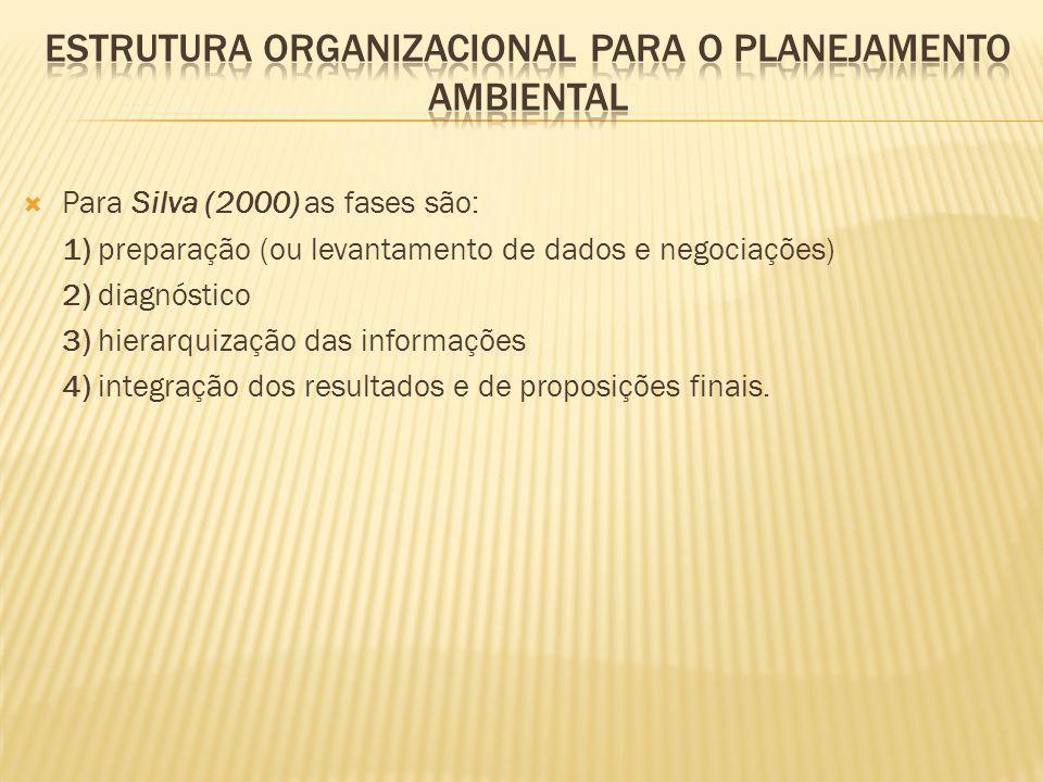 Para Silva (2000) as fases são: 1) preparação (ou levantamento de dados e negociações) 2) diagnóstico 3) hierarquização das informações 4) integração