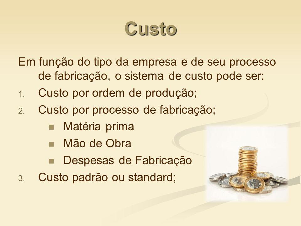 Custo Em função do tipo da empresa e de seu processo de fabricação, o sistema de custo pode ser: 1. 1. Custo por ordem de produção; 2. 2. Custo por pr