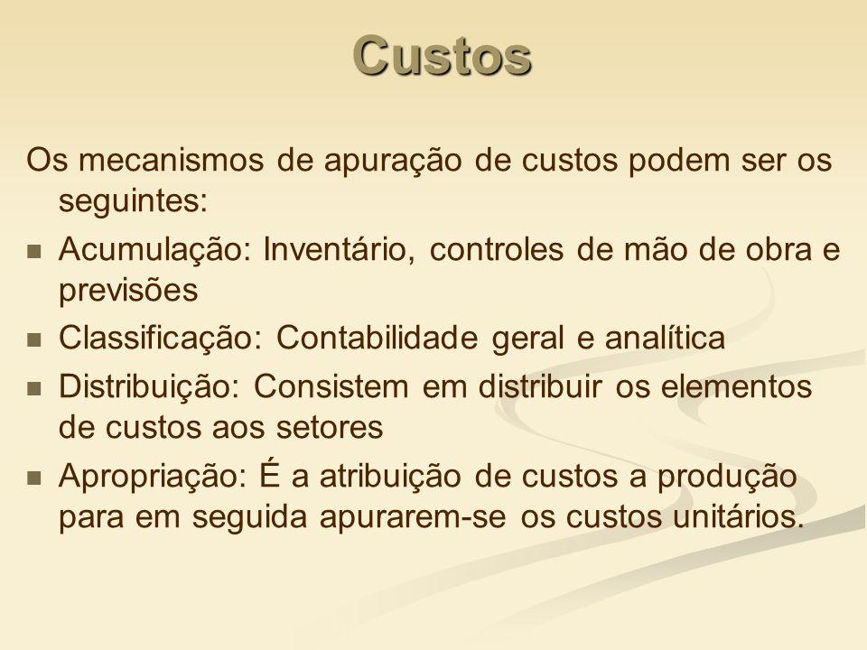 Custos Os mecanismos de apuração de custos podem ser os seguintes: Acumulação: Inventário, controles de mão de obra e previsões Classificação: Contabi