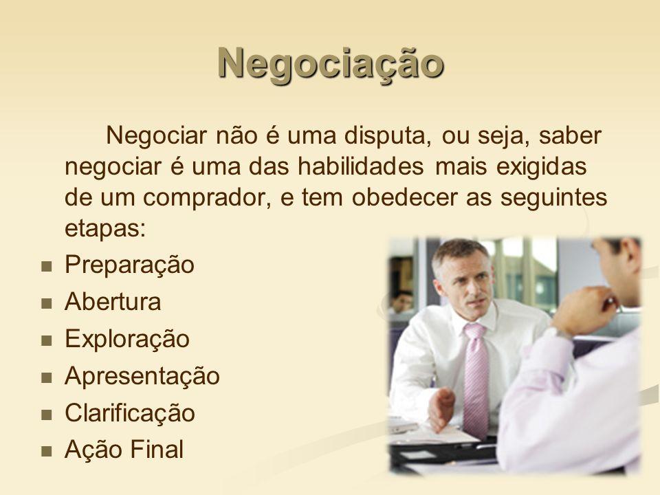 Negociação Negociar não é uma disputa, ou seja, saber negociar é uma das habilidades mais exigidas de um comprador, e tem obedecer as seguintes etapas