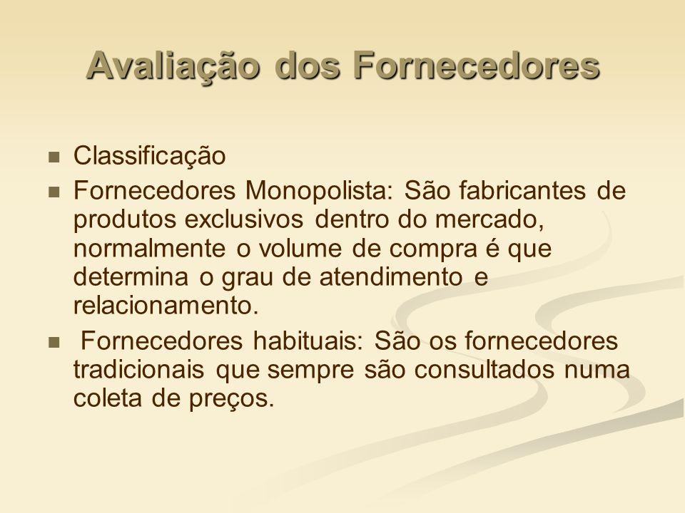 Avaliação dos Fornecedores Classificação Fornecedores Monopolista: São fabricantes de produtos exclusivos dentro do mercado, normalmente o volume de c