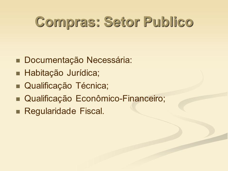 Compras: Setor Publico Documentação Necessária: Habitação Jurídica; Qualificação Técnica; Qualificação Econômico-Financeiro; Regularidade Fiscal.