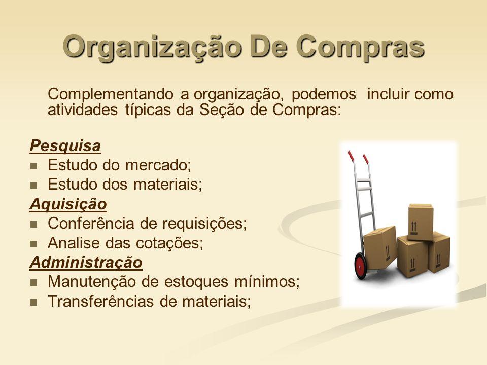 Organização De Compras Complementando a organização, podemos incluir como atividades típicas da Seção de Compras: Pesquisa Estudo do mercado; Estudo d
