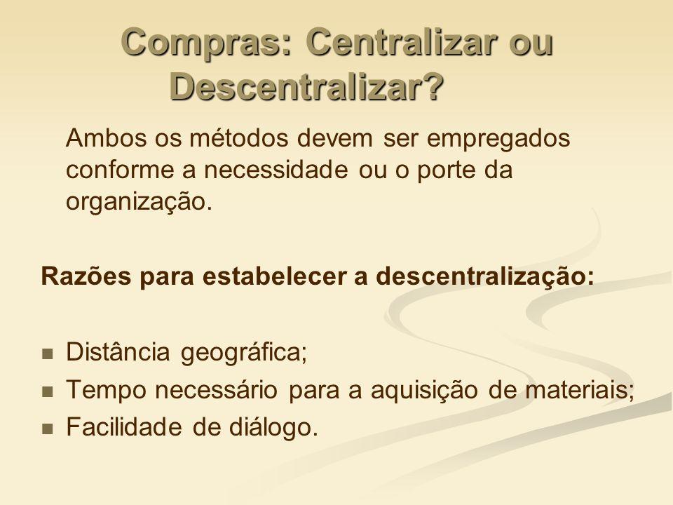 Compras: Centralizar ou Descentralizar? Ambos os métodos devem ser empregados conforme a necessidade ou o porte da organização. Razões para estabelece