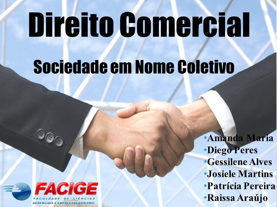 Conceito De acordo com o Código Comercial de 1850, artigos 315 e 316, a sociedade em nome coletivo é formada por duas ou mais pessoas, que respondem solidária e ilimitadamente pelas obrigações sociais.