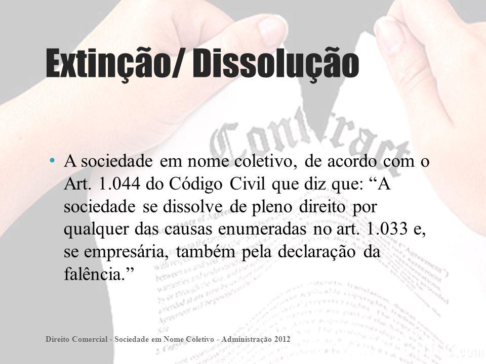 Extinção/ Dissolução A sociedade em nome coletivo, de acordo com o Art.