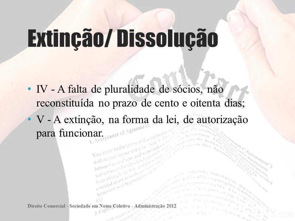IV - A falta de pluralidade de sócios, não reconstituída no prazo de cento e oitenta dias; V - A extinção, na forma da lei, de autorização para funcionar.