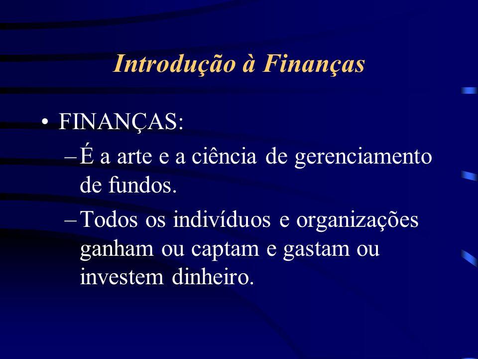 Introdução à Finanças FINANÇAS: –É a arte e a ciência de gerenciamento de fundos.