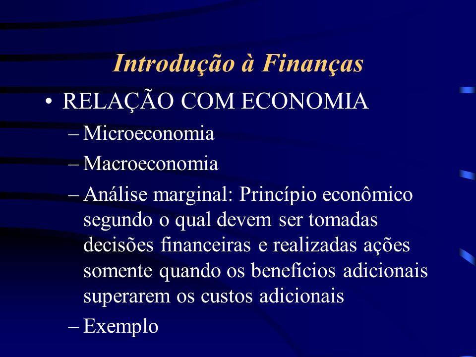 Introdução à Finanças RELAÇÃO COM ECONOMIA –Microeconomia –Macroeconomia –Análise marginal: Princípio econômico segundo o qual devem ser tomadas decisões financeiras e realizadas ações somente quando os benefícios adicionais superarem os custos adicionais –Exemplo