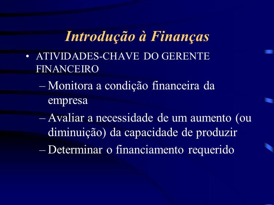 Introdução à Finanças ATIVIDADES-CHAVE DO GERENTE FINANCEIRO –Monitora a condição financeira da empresa –Avaliar a necessidade de um aumento (ou diminuição) da capacidade de produzir –Determinar o financiamento requerido