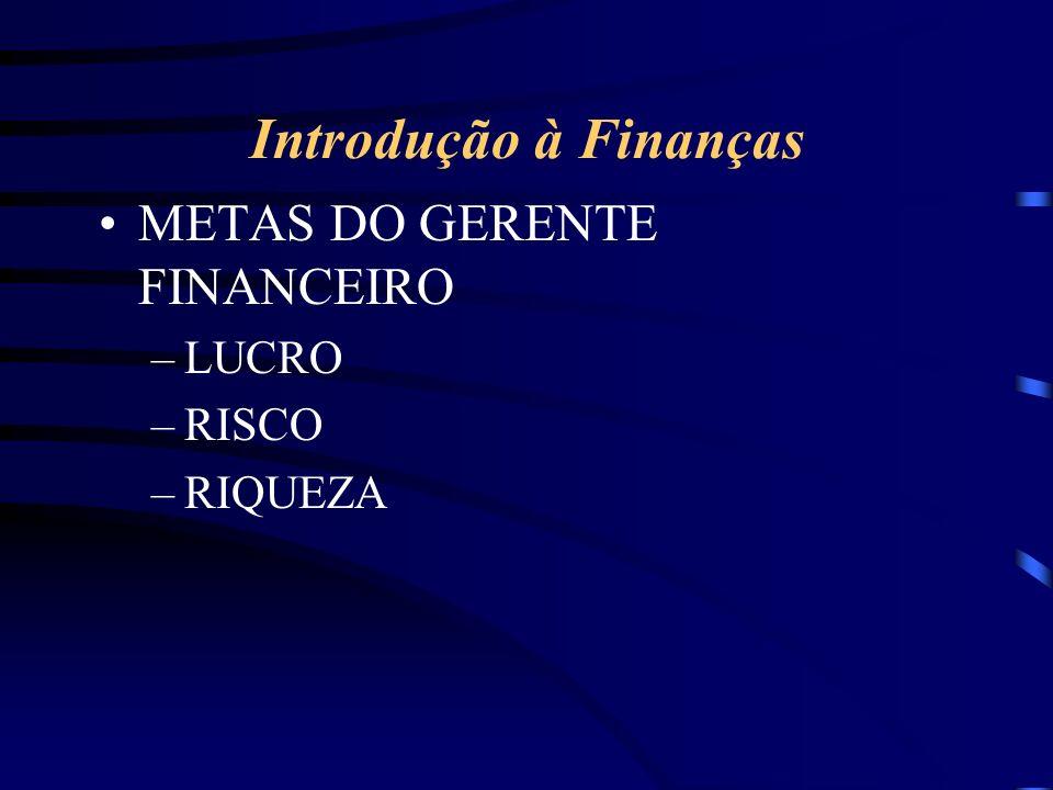 Introdução à Finanças METAS DO GERENTE FINANCEIRO –LUCRO –RISCO –RIQUEZA