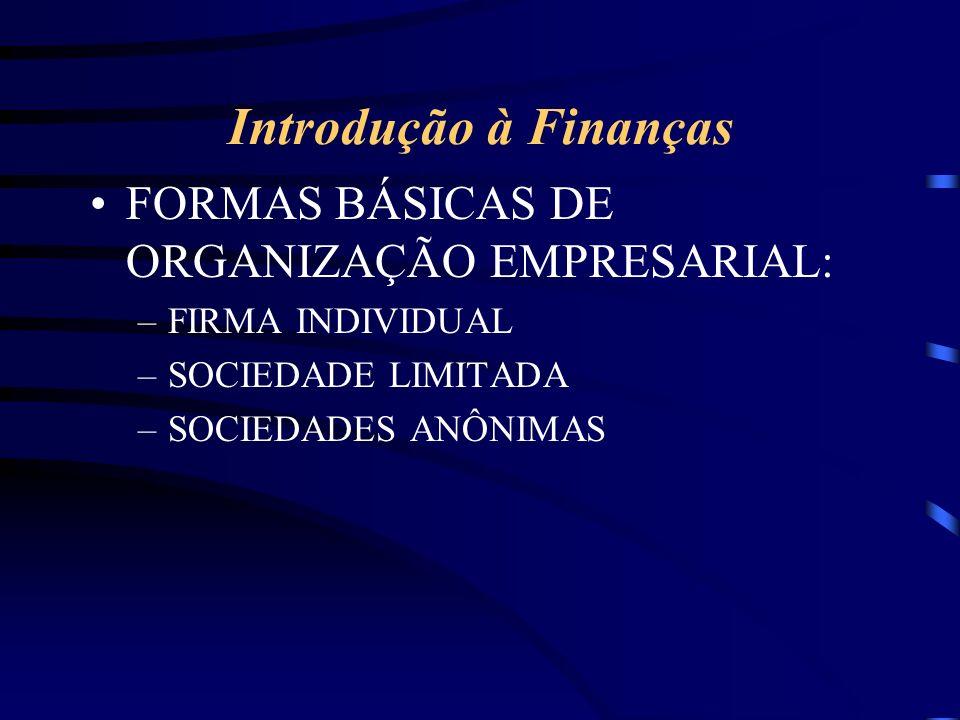 Introdução à Finanças FORMAS BÁSICAS DE ORGANIZAÇÃO EMPRESARIAL: –FIRMA INDIVIDUAL –SOCIEDADE LIMITADA –SOCIEDADES ANÔNIMAS