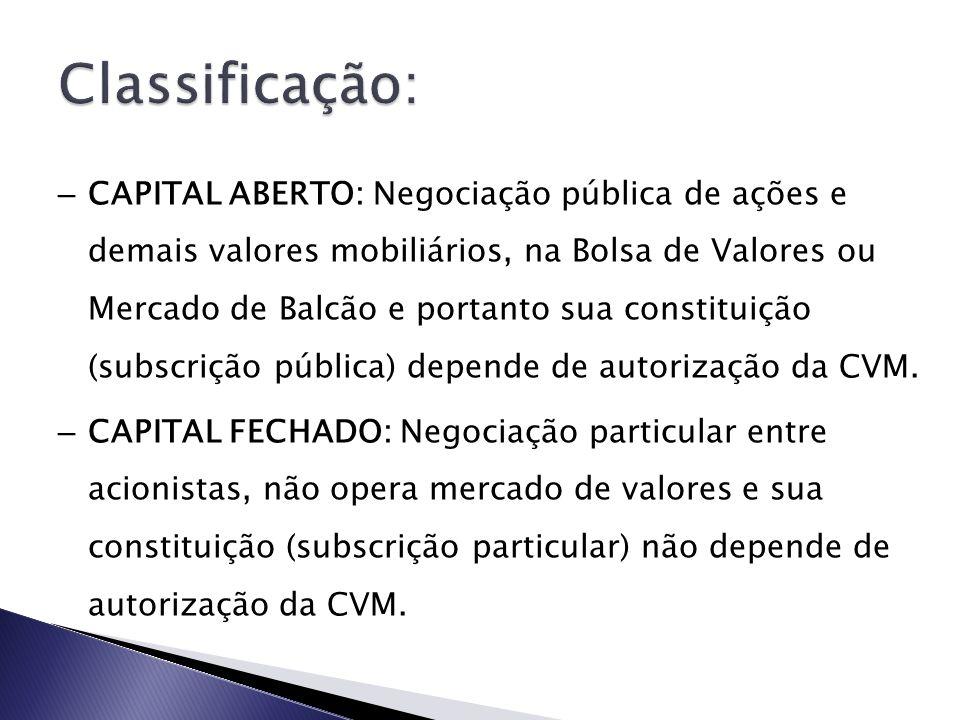 – CAPITAL ABERTO: Negociação pública de ações e demais valores mobiliários, na Bolsa de Valores ou Mercado de Balcão e portanto sua constituição (subs