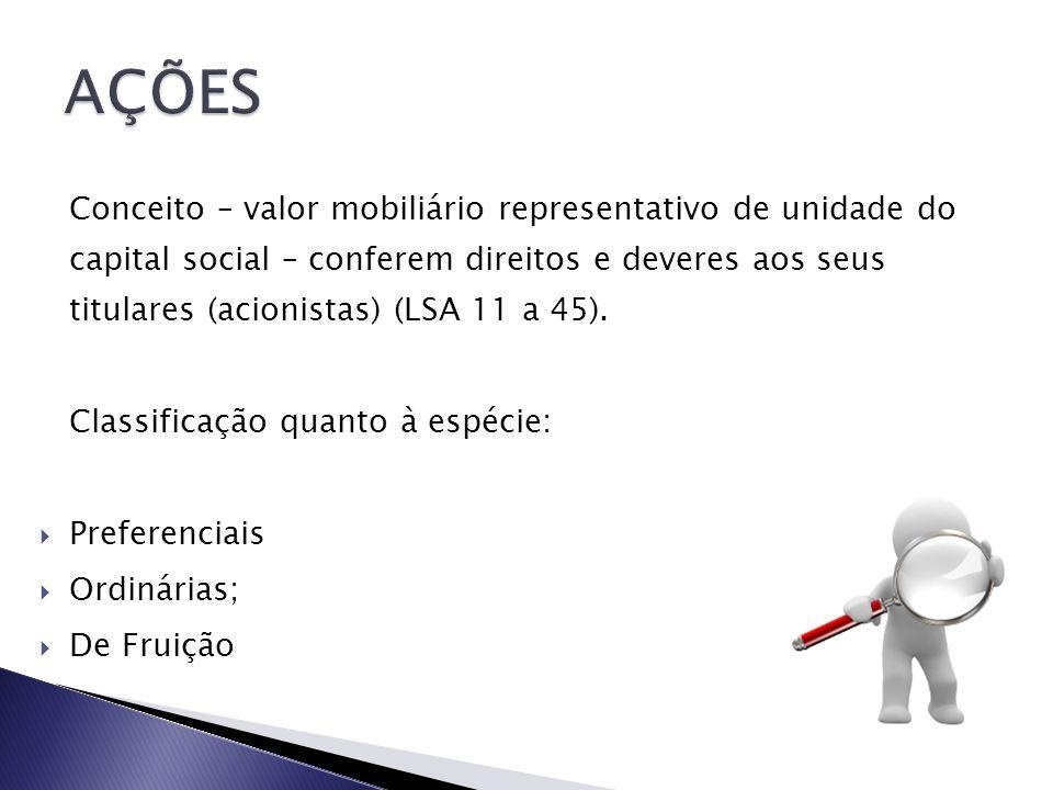 Conceito – valor mobiliário representativo de unidade do capital social – conferem direitos e deveres aos seus titulares (acionistas) (LSA 11 a 45). C