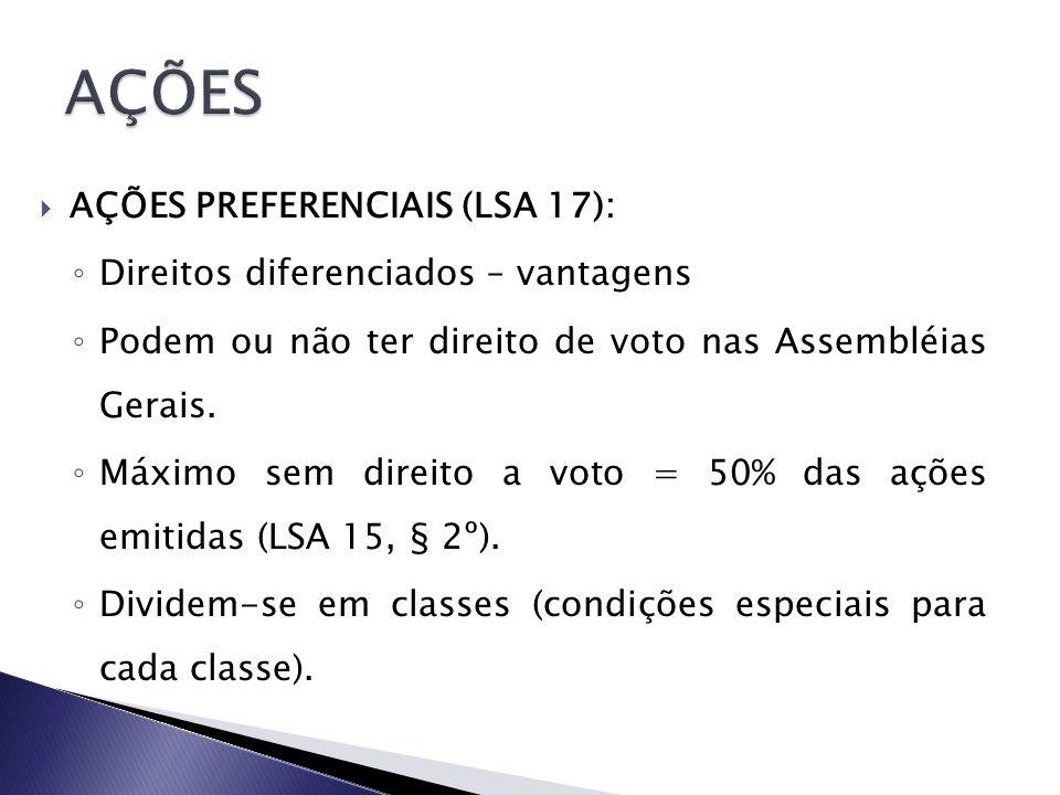 AÇÕES PREFERENCIAIS (LSA 17): Direitos diferenciados – vantagens Podem ou não ter direito de voto nas Assembléias Gerais. Máximo sem direito a voto =