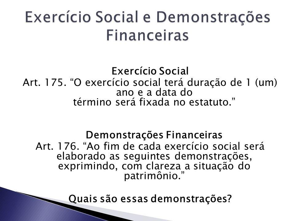 Exercício Social Art. 175. O exercício social terá duração de 1 (um) ano e a data do término será fixada no estatuto. Demonstrações Financeiras Art. 1