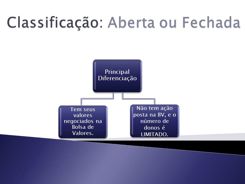 Principal Diferenciação Tem seus valores negociados na Bolsa de Valores. Não tem ação posta na BV, e o número de donos é LIMITADO.