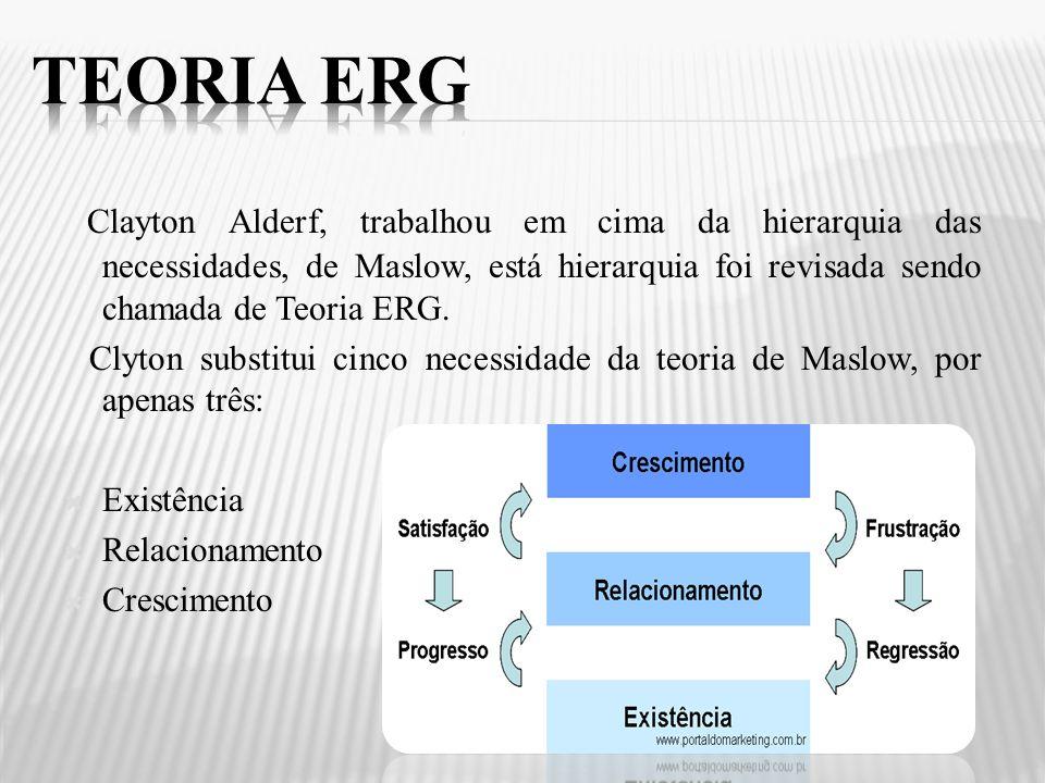 Clayton Alderf, trabalhou em cima da hierarquia das necessidades, de Maslow, está hierarquia foi revisada sendo chamada de Teoria ERG. Clyton substitu