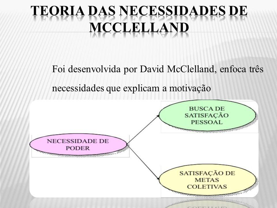 Foi desenvolvida por David McClelland, enfoca três necessidades que explicam a motivação