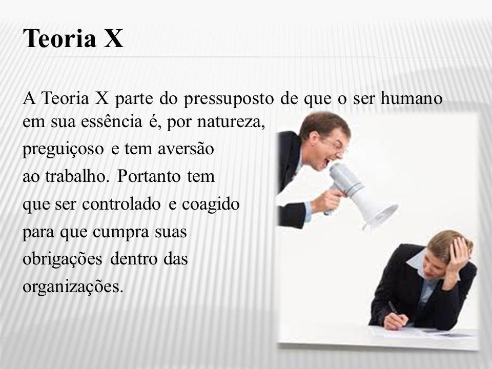 Teoria X A Teoria X parte do pressuposto de que o ser humano em sua essência é, por natureza, preguiçoso e tem aversão ao trabalho. Portanto tem que s