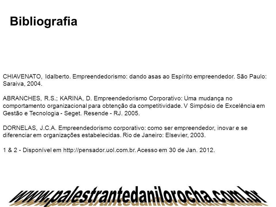 Bibliografia CHIAVENATO, Idalberto. Empreendedorismo: dando asas ao Espírito empreendedor. São Paulo: Saraiva, 2004. ABRANCHES, R.S.; KARINA, D. Empre