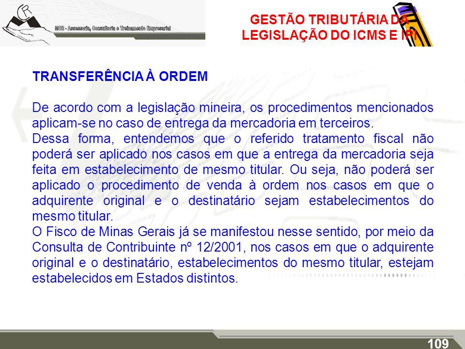GESTÃO TRIBUTÁRIA DA LEGISLAÇÃO DO ICMS E IPI TRANSFERÊNCIA À ORDEM De acordo com a legislação mineira, os procedimentos mencionados aplicam-se no cas