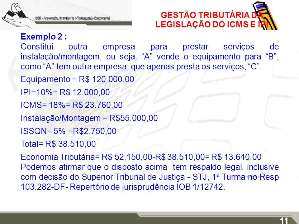GESTÃO TRIBUTÁRIA DA LEGISLAÇÃO DO ICMS E IPI Exemplo 2 : Constitui outra empresa para prestar serviços de instalação/montagem, ou seja, A vende o equ