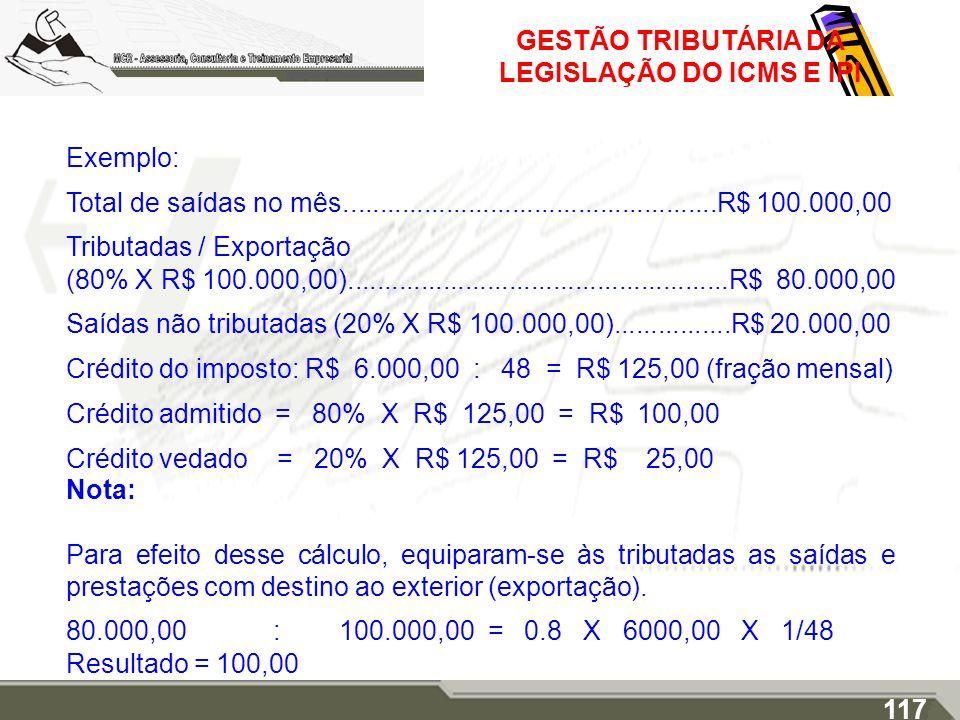 GESTÃO TRIBUTÁRIA DA LEGISLAÇÃO DO ICMS E IPI Exemplo: Total de saídas no mês...................................................R$ 100.000,00 Tributad