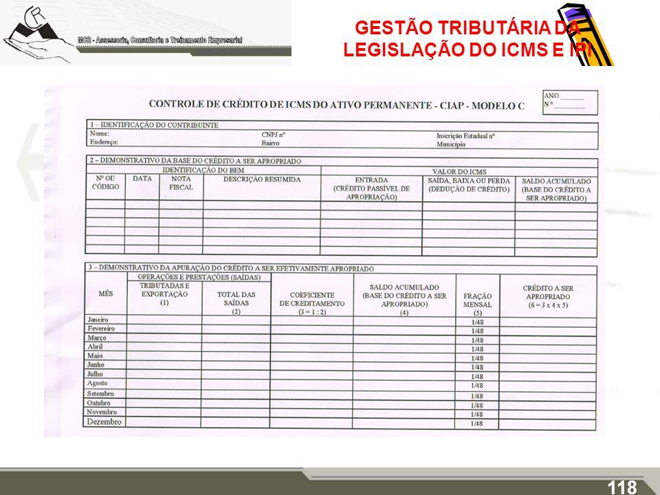 GESTÃO TRIBUTÁRIA DA LEGISLAÇÃO DO ICMS E IPI 118