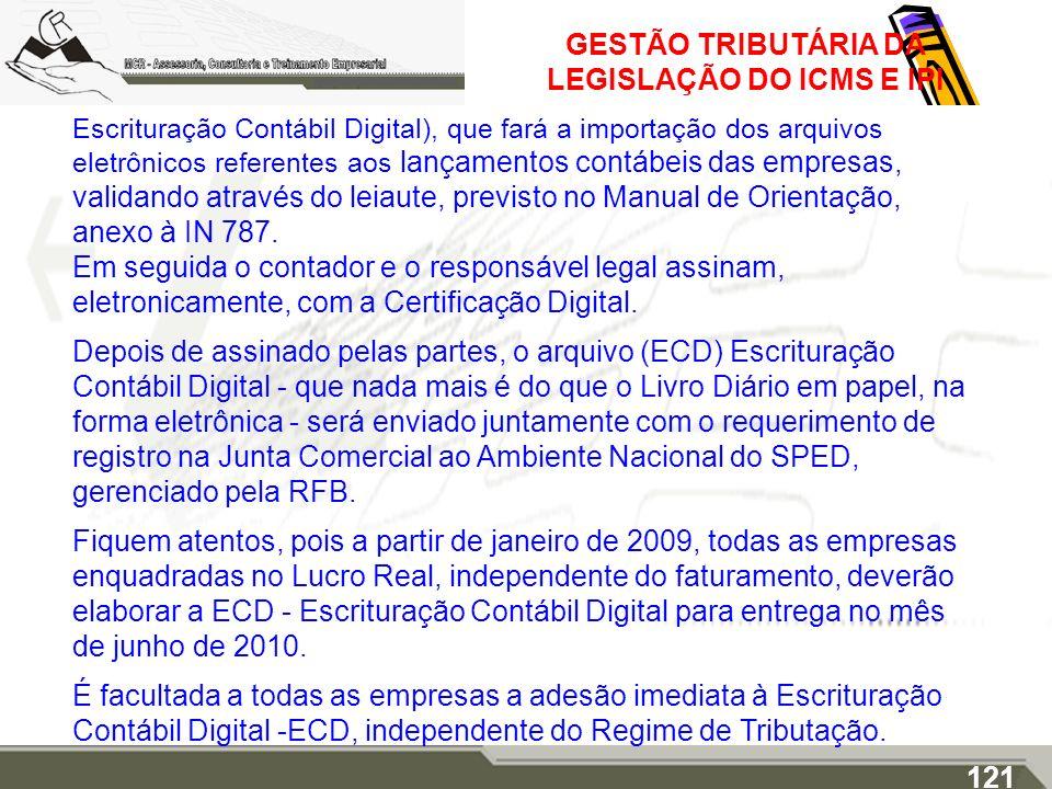 GESTÃO TRIBUTÁRIA DA LEGISLAÇÃO DO ICMS E IPI Escrituração Contábil Digital), que fará a importação dos arquivos eletrônicos referentes aos lançamento
