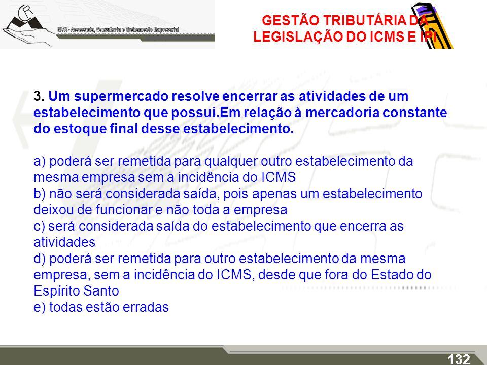 GESTÃO TRIBUTÁRIA DA LEGISLAÇÃO DO ICMS E IPI 3. Um supermercado resolve encerrar as atividades de um estabelecimento que possui.Em relação à mercador