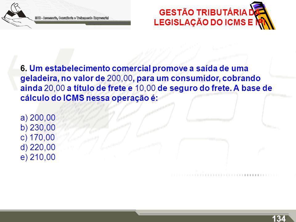 GESTÃO TRIBUTÁRIA DA LEGISLAÇÃO DO ICMS E IPI 6. Um estabelecimento comercial promove a saída de uma geladeira, no valor de 200,00, para um consumidor