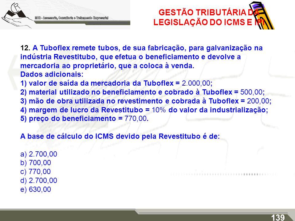 GESTÃO TRIBUTÁRIA DA LEGISLAÇÃO DO ICMS E IPI 12. A Tuboflex remete tubos, de sua fabricação, para galvanização na indústria Revestitubo, que efetua o
