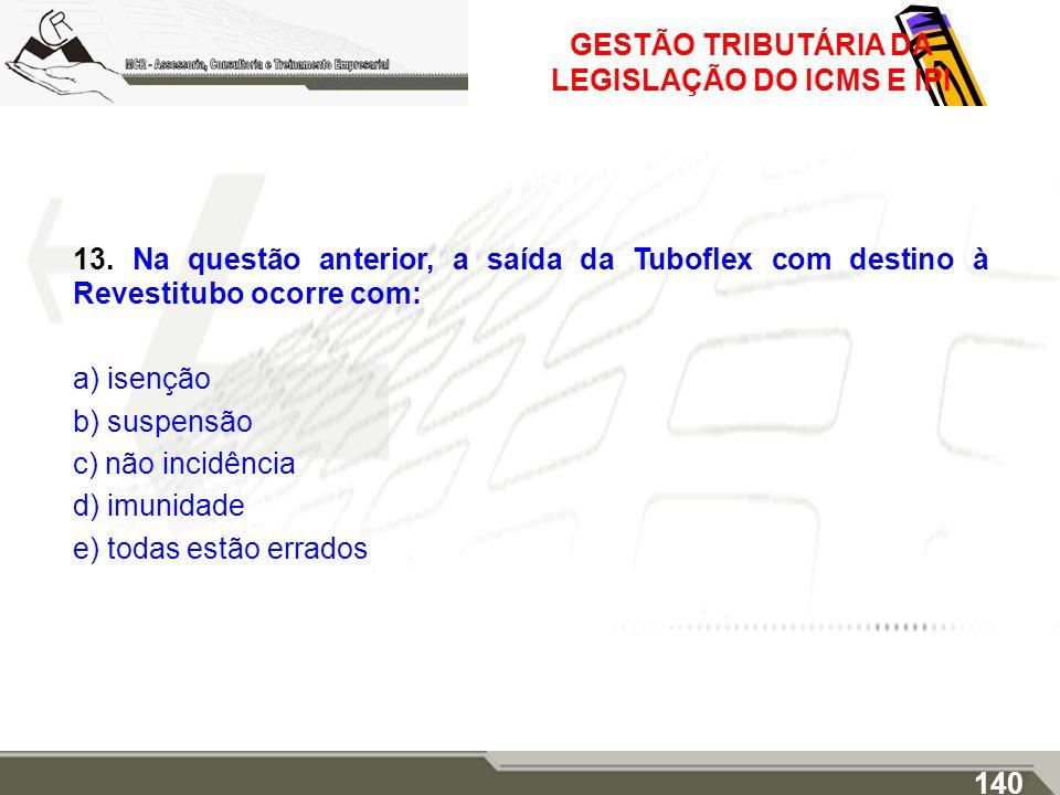 GESTÃO TRIBUTÁRIA DA LEGISLAÇÃO DO ICMS E IPI 13. Na questão anterior, a saída da Tuboflex com destino à Revestitubo ocorre com: a) isenção b) suspens