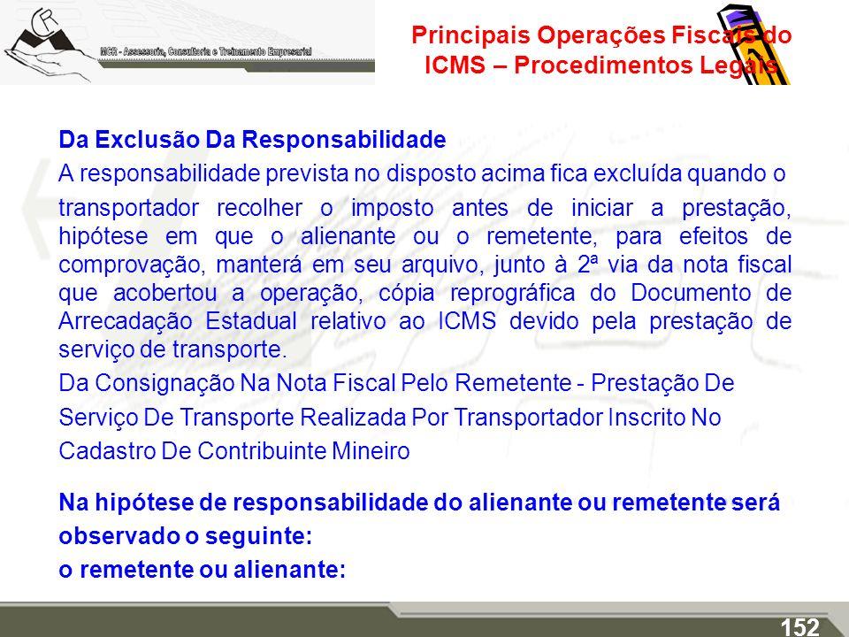 Principais Operações Fiscais do ICMS – Procedimentos Legais Da Exclusão Da Responsabilidade A responsabilidade prevista no disposto acima fica excluíd