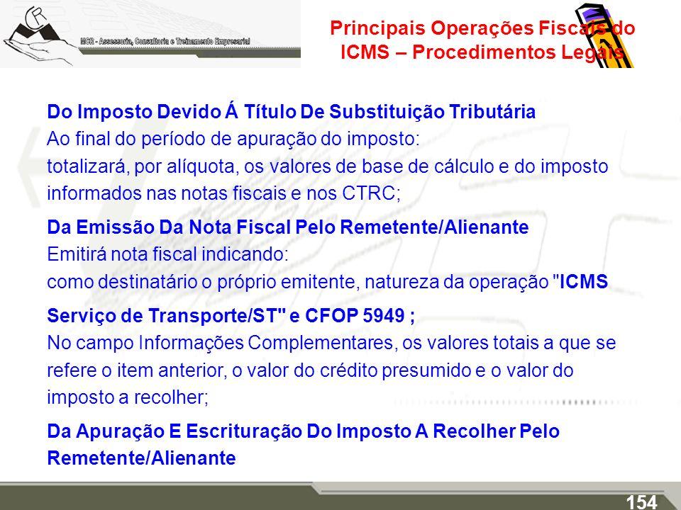 Principais Operações Fiscais do ICMS – Procedimentos Legais Do Imposto Devido Á Título De Substituição Tributária Ao final do período de apuração do i