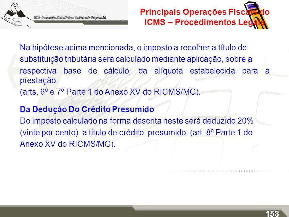 Principais Operações Fiscais do ICMS – Procedimentos Legais Na hipótese acima mencionada, o imposto a recolher a título de substituição tributária ser