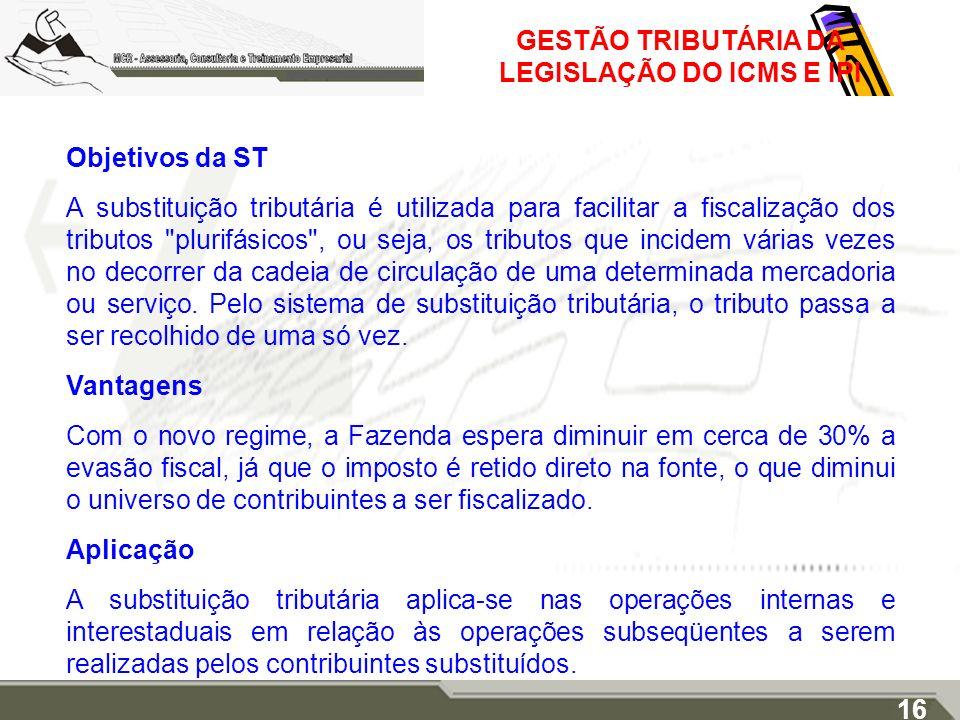 GESTÃO TRIBUTÁRIA DA LEGISLAÇÃO DO ICMS E IPI Objetivos da ST A substituição tributária é utilizada para facilitar a fiscalização dos tributos