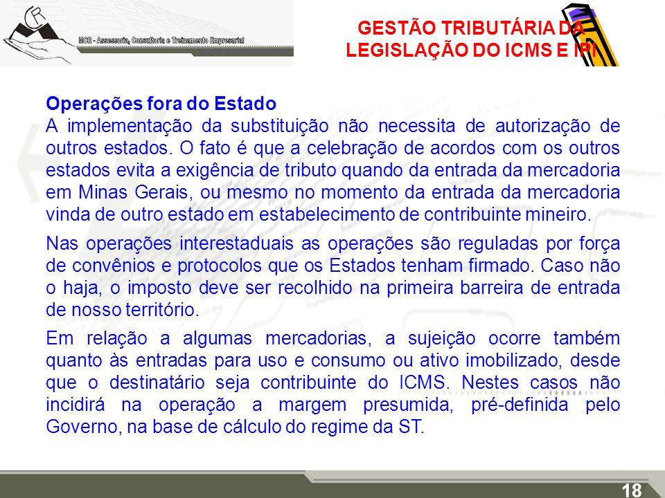 GESTÃO TRIBUTÁRIA DA LEGISLAÇÃO DO ICMS E IPI Operações fora do Estado A implementação da substituição não necessita de autorização de outros estados.
