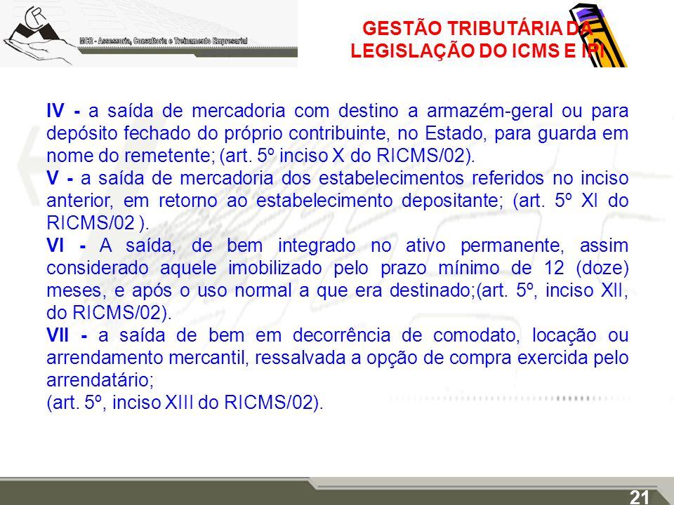 GESTÃO TRIBUTÁRIA DA LEGISLAÇÃO DO ICMS E IPI IV - a saída de mercadoria com destino a armazém-geral ou para depósito fechado do próprio contribuinte,