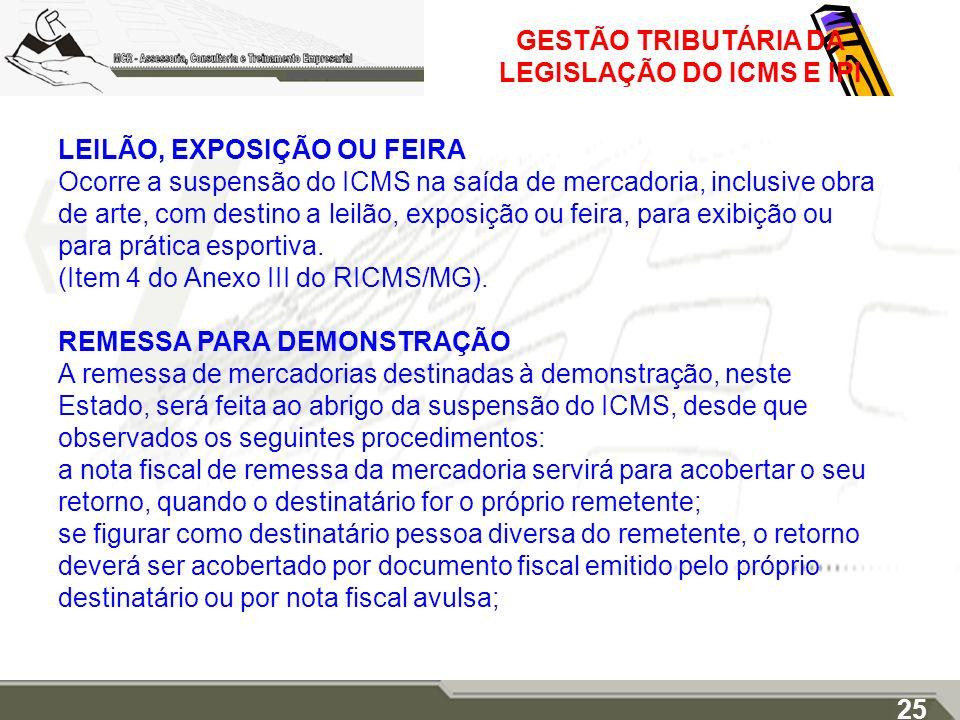 GESTÃO TRIBUTÁRIA DA LEGISLAÇÃO DO ICMS E IPI LEILÃO, EXPOSIÇÃO OU FEIRA Ocorre a suspensão do ICMS na saída de mercadoria, inclusive obra de arte, co