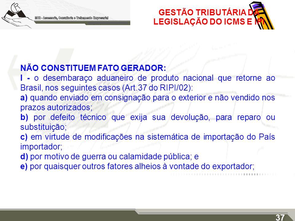 GESTÃO TRIBUTÁRIA DA LEGISLAÇÃO DO ICMS E IPI NÃO CONSTITUEM FATO GERADOR: I - o desembaraço aduaneiro de produto nacional que retorne ao Brasil, nos